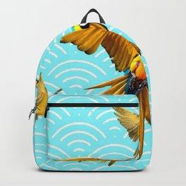 MODERN  AQUA BLUE & GOLD TROPICAL MACAWS IN FLIGHT Backpack