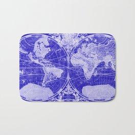 World Map (1691) Blue & White Bath Mat