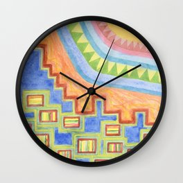 Striped Bungalows in the bright Sunlight Wall Clock