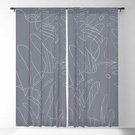 Monstera No2 Gray Edition Blackout Curtain