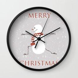 Snowman yoga - Warrior II Wall Clock