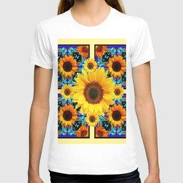 Blue Abstracted Sun Flowers & Butterflies Pattern T-shirt