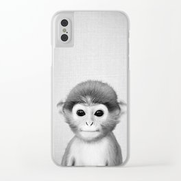 Baby Monkey - Black & White Clear iPhone Case