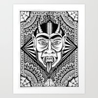 devil Art Prints featuring Devil by Cady Bogart