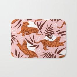 Vibrant Wilderness / Tigers on Pink Bath Mat