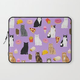Cat breeds junk food pizza french fries food with cats gifts ice cream donuts Laptop Sleeve