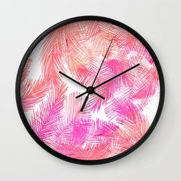 Trendy coral pink watercolor hand drawn palm tree  Wall Clock