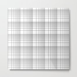 Simple Grid Pattern-Black on White - Mix & Match with Simplicity of life Metal Print