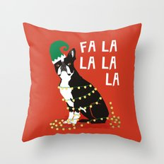 Boston Terrier Elf Christmas holiday art print with cute small dog breed terrier dog lover gift idea Throw Pillow
