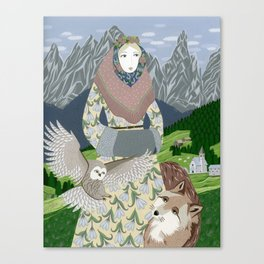 Lady with an owl and a dog Canvas Print