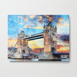 tower-bridge-thames-river-historic Metal Print