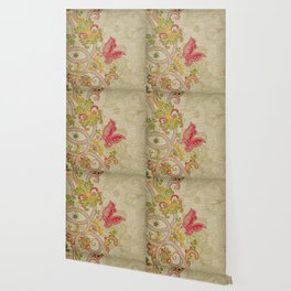 Raw Linen Texture Vines and Flowers // Art Nouveau Butterfly Wallpaper