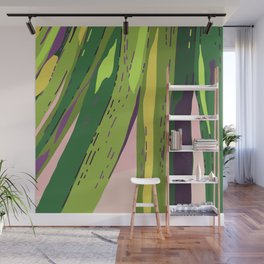 Too Close for Comfort - Tropical Palm Leaves Illustration Wall Mural