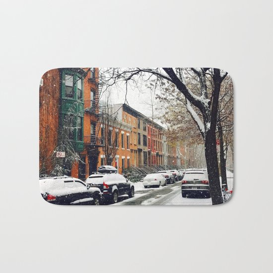 Brooklyn New York City Snow Showers Bath Mat