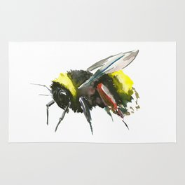 Bumblebee, minimalist bee honey making art, design black yellow Rug