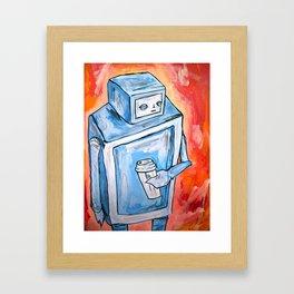 sleepy robot Framed Art Print