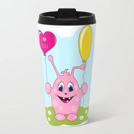 Cute pink monster loves you Travel Mug
