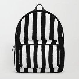Black and White Cabana Stripes Palm Beach Preppy Backpack