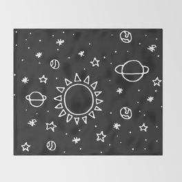 Planets Hand Drawn Throw Blanket