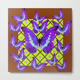 Migrating Purple Butterflies  on  Coffee Brown & Lime Color Pattern Metal Print