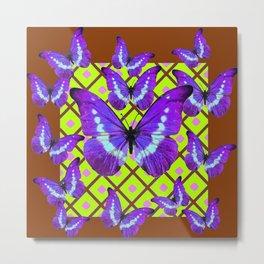 Migrating Purple Butterflies  on  Coffee Brown & Lime Color Pattern Metal Print
