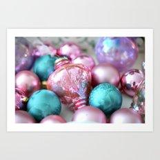 Sparkling Cottage Dreamy Holiday Vintage Ornaments Pink Aqua Prints Home Decor Art Print