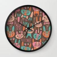 bunnies Wall Clocks featuring Bunnies by Olya Yang