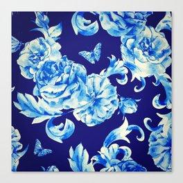 Blue Flowers & Butterflies Pattern Canvas Print