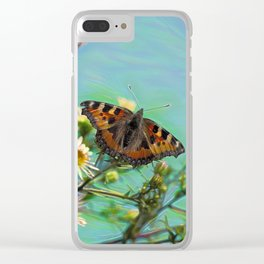 The butterfly collecting pollen on a flower Clear iPhone Case