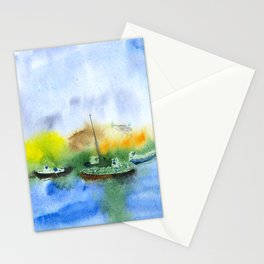 Ships and dunes in Nida, watercolor Stationery Cards