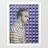 mike wrobel Art Prints featuring Mike by Caitlin Audrey Smith