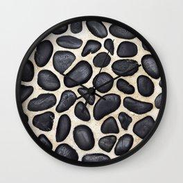 Black Pebble Floor Set in Cement Wall Clock