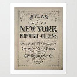 Atlas of The City of New York Borough of Queens Art Print