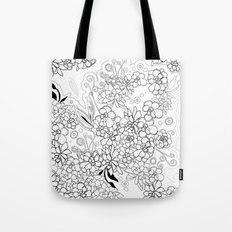 Succulents, black and white Tote Bag