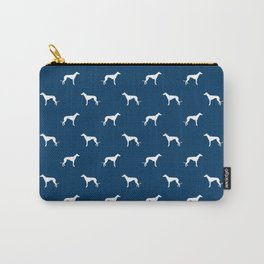 Greyhound blue and white minimal dog silhouette dog breed pattern Carry-All Pouch