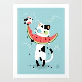 Watermelon Cat Art Print