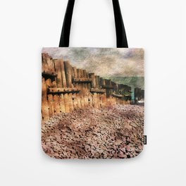 Sea Defence Groynes - watercolour effect. Tote Bag