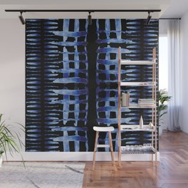 "Black and Blue Watercolor Pattern ""Cross Hatch"" Wall Mural"