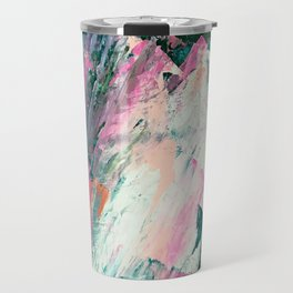 Meditate [2]: a vibrant, colorful abstract piece in bright green, teal, pink, orange, and white Travel Mug