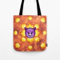 emoji Tote Bags featuring Devil Emoji by jajoão