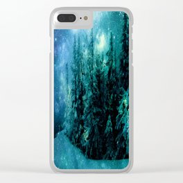 Galaxy Winter Forest Blue Teal Clear iPhone Case
