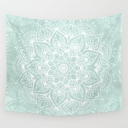 Mandala, Yoga, Love, Flower of Life, Teal Green Wall Tapestry