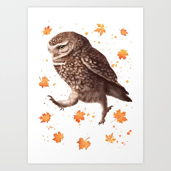 Autumn owl with leaves Art Print