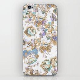 Vintage blush lavender brown teal blue roses floral iPhone Skin