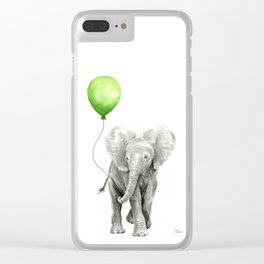 Baby Elephant Watercolor Green Balloon Neutral Color Nursery Decor Clear iPhone Case