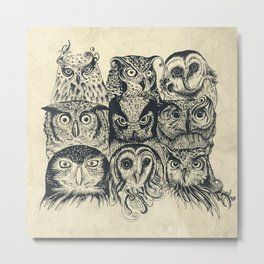 Nine Owls Metal Print