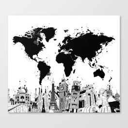 world map city skyline 4 Canvas Print