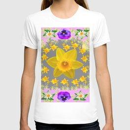 SPRING PURPLE PANSIES & DAFFODILS ART DESIGN T-shirt