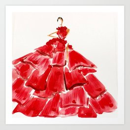 Lady M In red Art Print