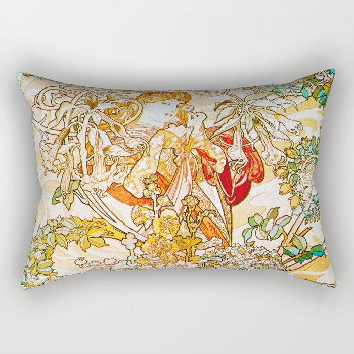Alphonse Mucha - Woman with Daisy Rectangular Pillow